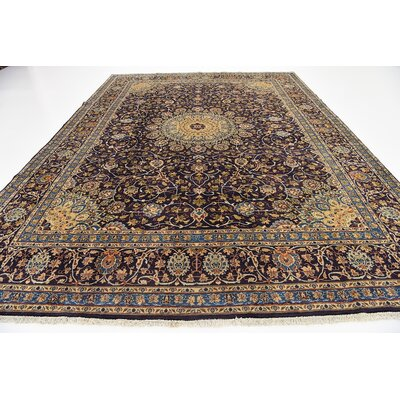 One-of-a-Kind Winterstown Persian Hand Woven Wool Navy Blue Oriental Area Rug