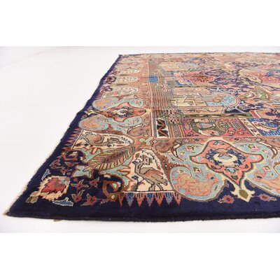 One-of-a-Kind Winterstown Traditional Persian Hand Woven Wool Navy Blue Area Rug