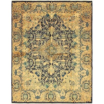 One-of-a-Kind Winterstown Traditional Persian Hand Woven Wool Navy Blue Oriental Area Rug