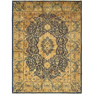 One-of-a-Kind Winterstown Traditional Persian Hand Knotted Wool Navy Blue Area Rug