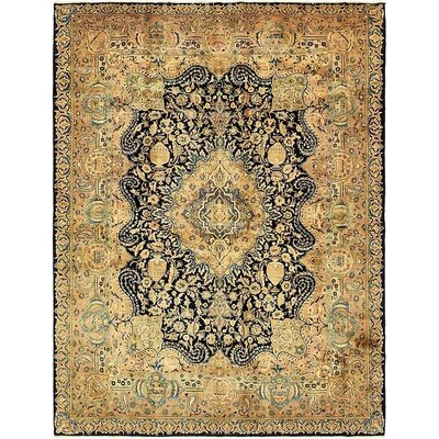 One-of-a-Kind Winterstown Traditional Persian Hand Woven 100% Wool Navy Blue Oriental Area Rug