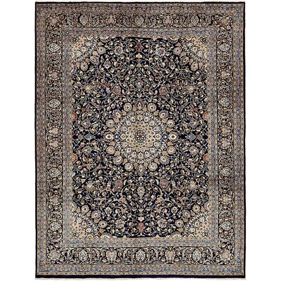 One-of-a-Kind Winterstown Persian Hand Woven 100% Wool Navy Blue Oriental Area Rug with Fringe