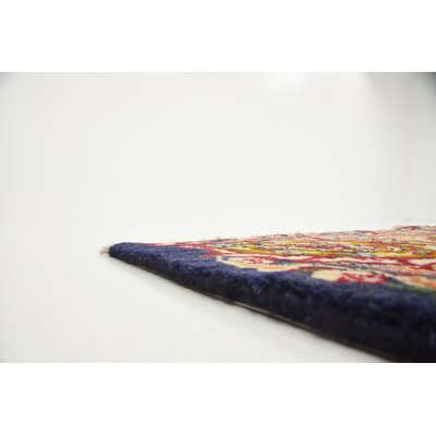 One-of-a-Kind Winterstown Traditional Persian Hand Woven 100% Wool Rectangle Navy Blue Area Rug with Fringe
