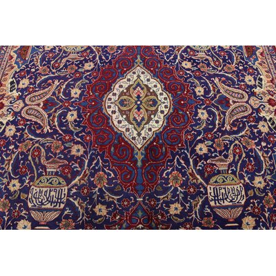 One-of-a-Kind Winterstown Traditional Persian Hand Woven Wool Rectangle Navy Blue Area Rug with Fringe