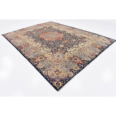 One-of-a-Kind Winterstown Traditional Persian Hand Woven Wool Rectangle Navy Blue Area Rug