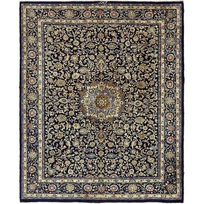 One-of-a-Kind Winterstown Stain-Resistant Persian Hand Woven 100% Wool Navy Blue Area Rug