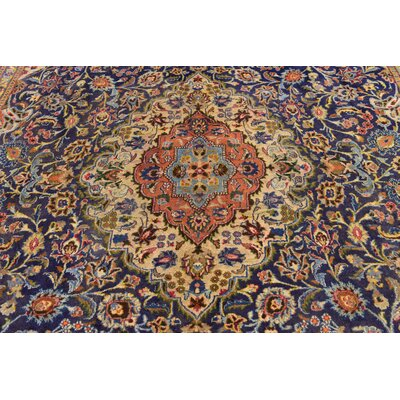 One-of-a-Kind Winterstown Stain-Resistant Persian Hand Woven Wool Navy Blue Oriental Area Rug