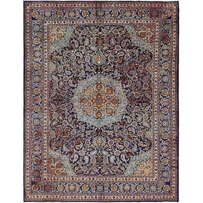 One-of-a-Kind Winterstown Stain-Resistant Persian Hand Woven Wool Navy Blue Area Rug with Fringe