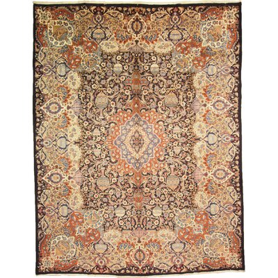 One-of-a-Kind Winterstown Stain-Resistant Persian Hand Woven Wool Navy Blue Area Rug