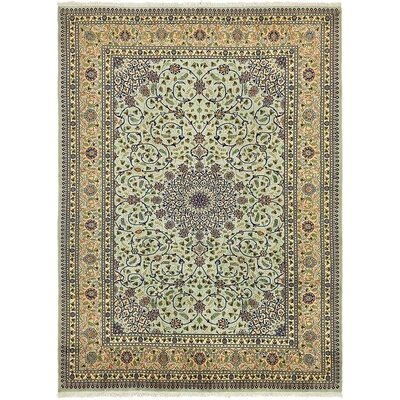 One-of-a-Kind Winterstown Persian Hand Woven Wool/Silk Olive Area Rug
