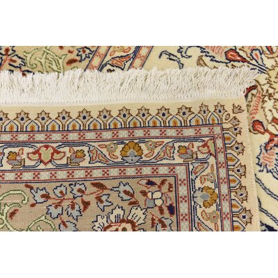 One-of-a-Kind Winterstown Traditional Persian Hand Woven Wool Ivory Area Rug