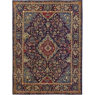 One-of-a-Kind Winterstown Traditional Stain-Resistant Persian Hand Woven Wool Rectangle Navy Blue Area Rug
