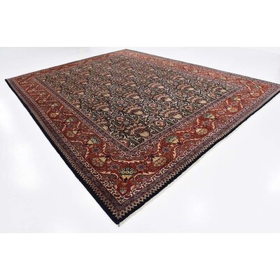 One-of-a-Kind Winterstown Traditional Stain-Resistant Persian Hand Woven Wool Navy Blue Area Rug with Fringe