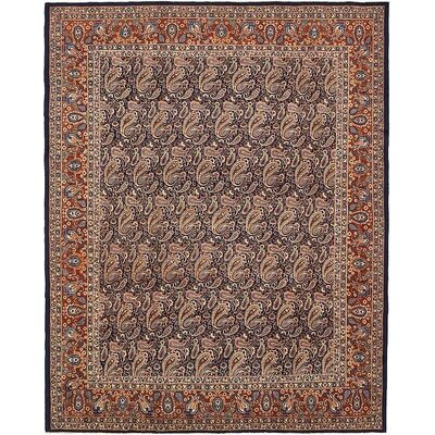 One-of-a-Kind Winterstown Traditional Stain-Resistant Persian Hand Woven Wool Navy Blue Oriental Area Rug with Fringe