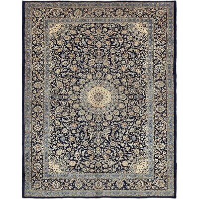 One-of-a-Kind Winterstown Stain-Resistant Persian Hand Woven Wool Rectangle Navy Blue Oriental Area Rug