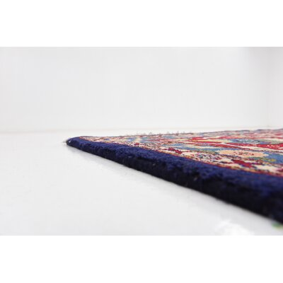 One-of-a-Kind Winterstown Stain-Resistant Persian Hand Woven 100% Wool Navy Blue Oriental Area Rug with Fringe