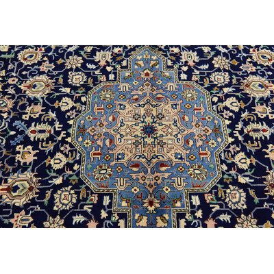 One-of-a-Kind Winterstown Stain-Resistant Persian Hand Woven 100% Wool Navy Blue Oriental Area Rug