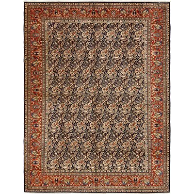 One-of-a-Kind Winterstown Stain-Resistant Persian Hand Woven 100% Wool Navy Blue Area Rug with Fringe