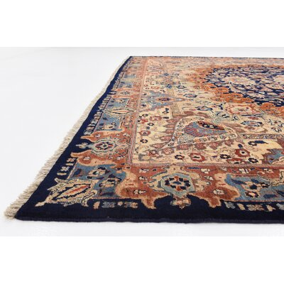 One-of-a-Kind Winterstown Traditional Persian Hand Woven 100% Wool Navy Blue Area Rug