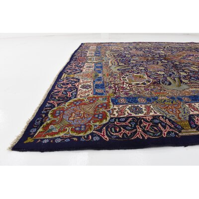 One-of-a-Kind Winterstown Fade Resistant Persian Hand Woven Wool Navy Blue Area Rug