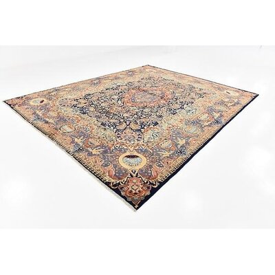 One-of-a-Kind Winterstown Traditional Fade Resistant Persian Hand Woven Wool Navy Blue Area Rug