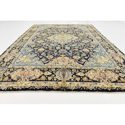 One-of-a-Kind Winterstown Fade Resistant Persian Hand Woven Wool Rectangle Navy Blue Area Rug