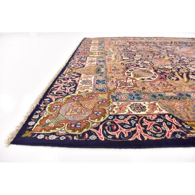 One-of-a-Kind Winterstown Fade Resistant Persian Hand Woven Wool Navy Blue Oriental Area Rug