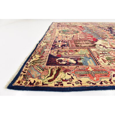 One-of-a-Kind Winterstown Traditional Fade Resistant Persian Hand Woven 100% Wool Navy Blue Area Rug