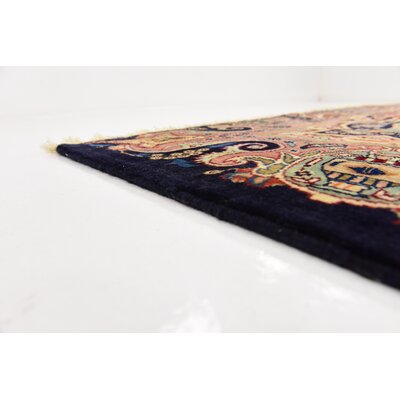 One-of-a-Kind Winterstown Traditional Fade Resistant Persian Hand Woven 100% Wool Rectangle Navy Blue Oriental Area Rug