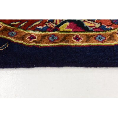 One-of-a-Kind Winterstown Fade Resistant Persian Hand Woven Wool Rectangle Navy Blue Oriental Area Rug with Fringe