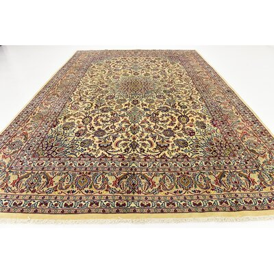 One-of-a-Kind Winterstown Persian Hand Woven Wool Ivory Border Area Rug