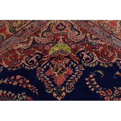 One-of-a-Kind Winterstown Fade Resistant Persian Hand Woven Wool Navy Blue Oriental Area Rug with Fringe