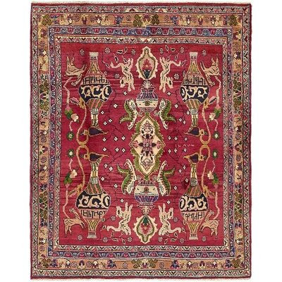 One-of-a-Kind Winterstown Stain-Resistant Persian Hand Knotted100% Wool Red Area Rug