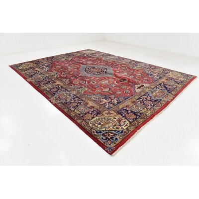 One-of-a-Kind Winterstown Stain-Resistant Persian Hand Woven Wool Red Area Rug with Fringe