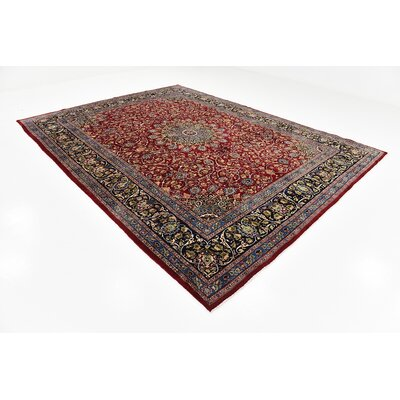 One-of-a-Kind Winterstown Stain-Resistant Persian Hand Woven 100% Wool Red Area Rug with Fringe