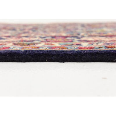 One-of-a-Kind Winterstown Fade Resistant Persian Hand Woven 100% Wool Navy Blue Oriental Area Rug with Fringe