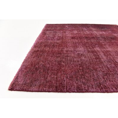 One-of-a-Kind Sela Vintage Persian Square Hand Woven Silk Burgundy Area Rug