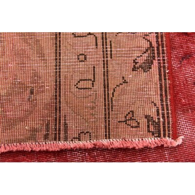 One-of-a-Kind Sela Traditional Vintage Persian Hand Woven Wool Distressed Red Floral Area Rug with Fringe