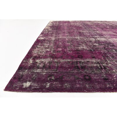 One-of-a-Kind Sela Traditional Vintage Persian Hand Woven Wool Purple Area Rug with Fringe