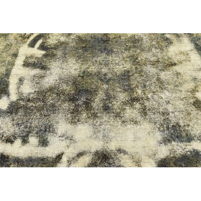 One-of-a-Kind Sela Vintage Persian Hand Woven Dyed Wool Rectangle Distressed Ivory Area Rug