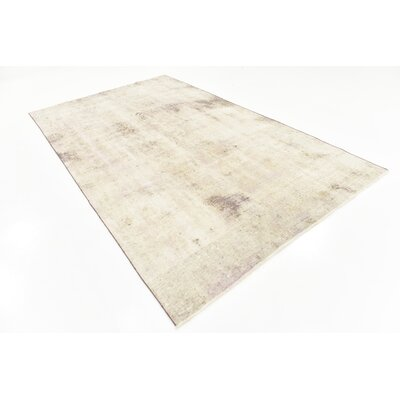 One-of-a-Kind Sela Vintage Persian Hand Woven Dyed Wool Distressed Ivory Area Rug with Fringe