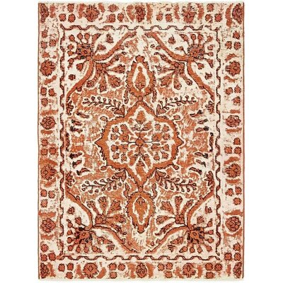 One-of-a-Kind Sela Vintage Persian Hand Woven Wool Rectangle Orange Floral Area Rug