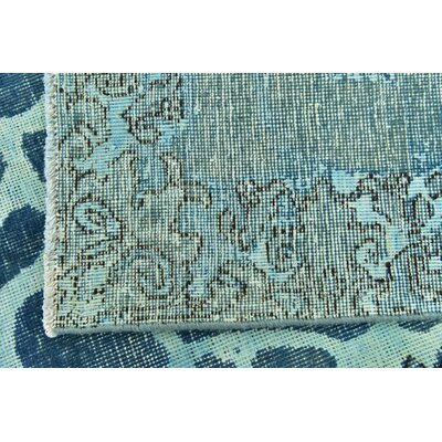 One-of-a-Kind Sela Vintage Persian Runner Hand Woven Wool Blue Streak Area Rug