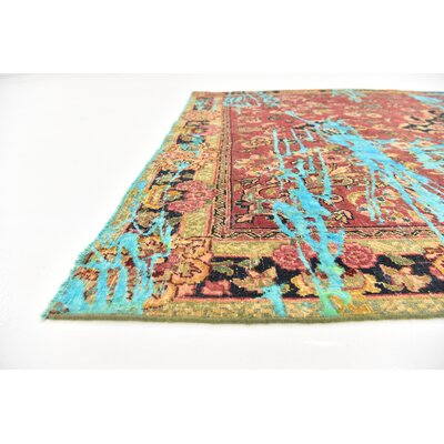 One-of-a-Kind Sela Vintage Persian Hand Woven Wool Distressed Red/Blue Area Rug with Cotton Backing