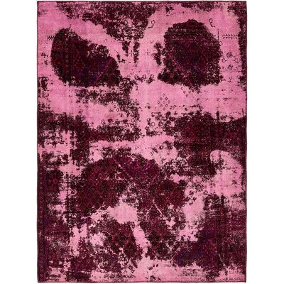 One-of-a-Kind Sela Vintage Persian Hand Woven 100% Wool Rectangle Purple Area Rug with Fringe