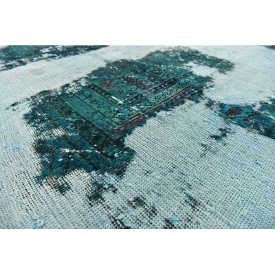 One-of-a-Kind Muhammad Vintage Persian Hand Woven Wool Light Green Oriental Area Rug