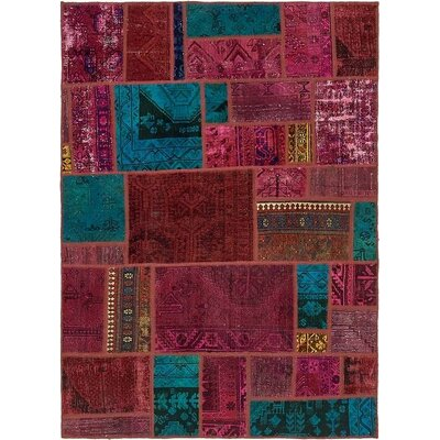 One-of-a-Kind Sela Vintage Persian Hand Woven Wool Rectangle Green/Red Patchwork Area Rug
