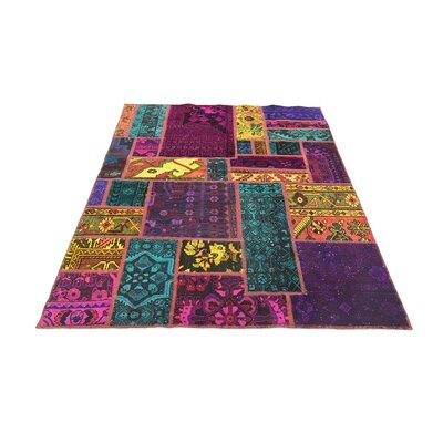 One-of-a-Kind Sela Vintage Persian Hand Woven Wool Rectangle Green/Purple Area Rug