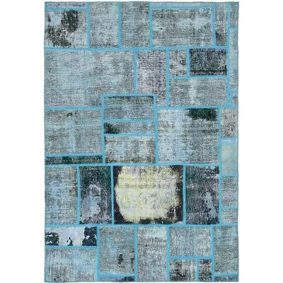 One-of-a-Kind Muhammad Vintage Persian Hand Woven Silk Blue Area Rug