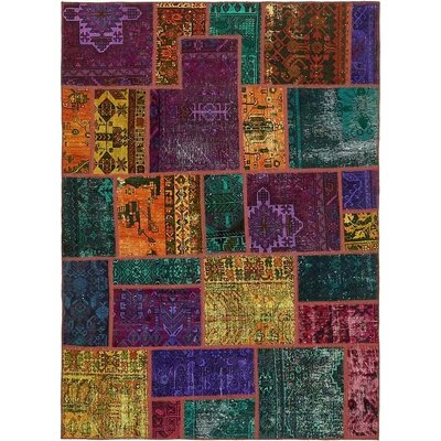 One-of-a-Kind Sela Vintage Persian Hand Woven Wool Purple/Green Patchwork Area Rug
